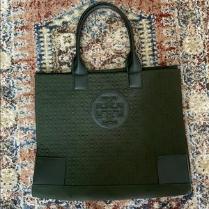 EUC Tory Burch Large Quilted Logo Tote